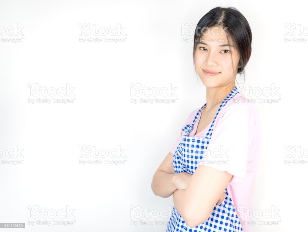 Asian housewife is in ready for work for employment poster and banner stock photo