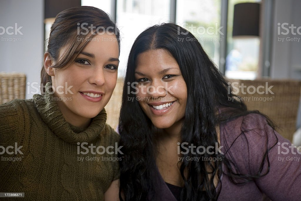 Asian Indian and Caucasian Friends in Coffee Shop, Portrait royalty-free stock photo