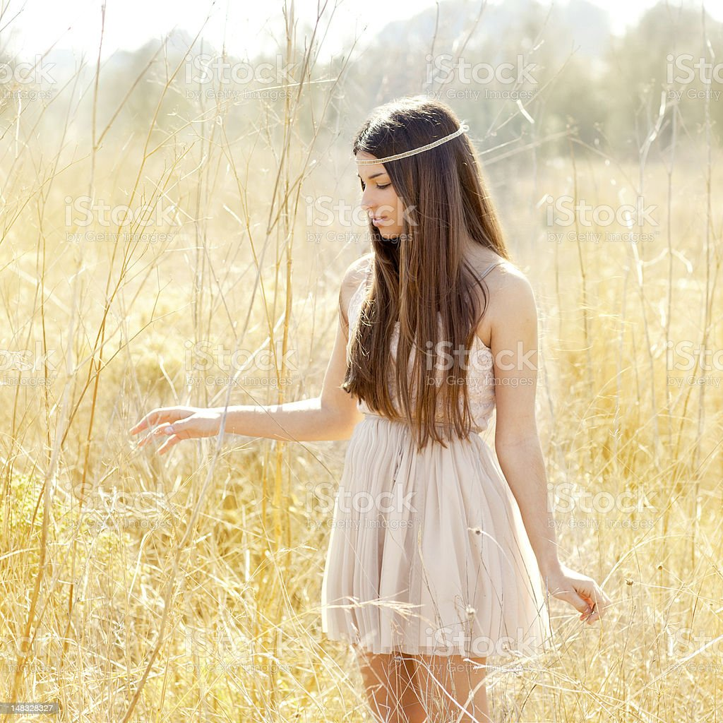 Asian indian woman walking in golden dried field royalty-free stock photo