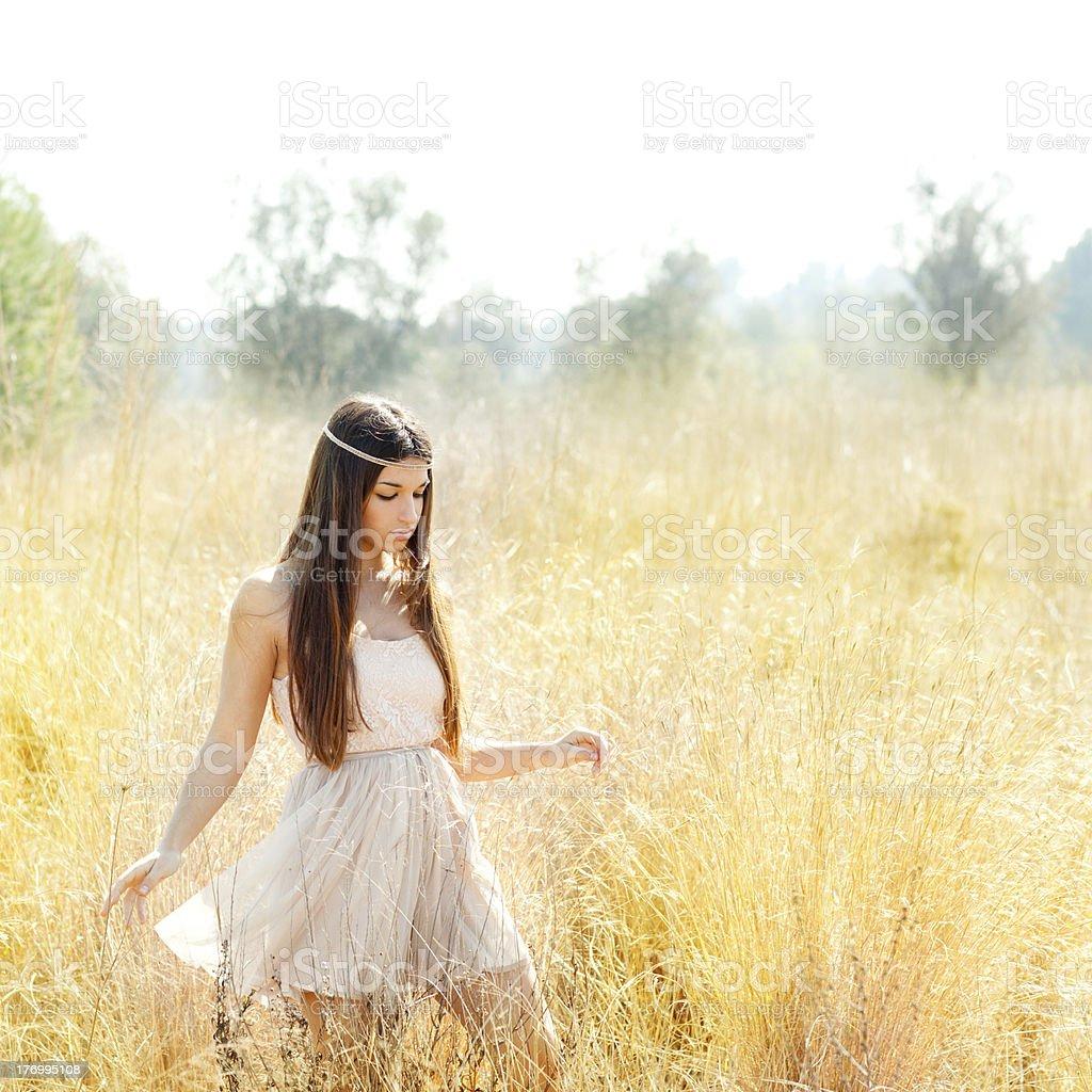 Asian indian woman walking in golden dried field stock photo