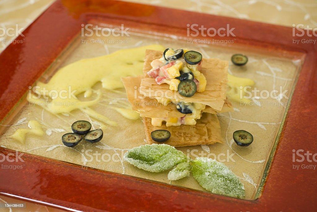 Asian Influence Layered Fruit Tart stock photo