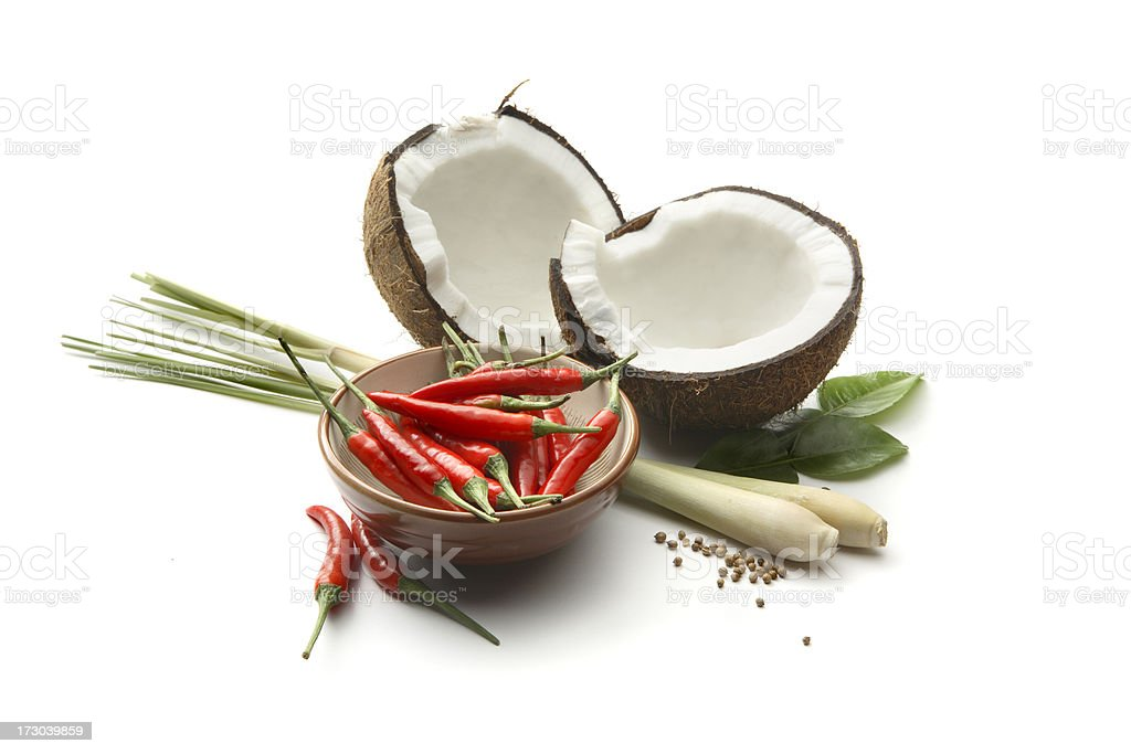 Asian Ingredients: Coconut, Chili Pepper, Lemon Grass royalty-free stock photo