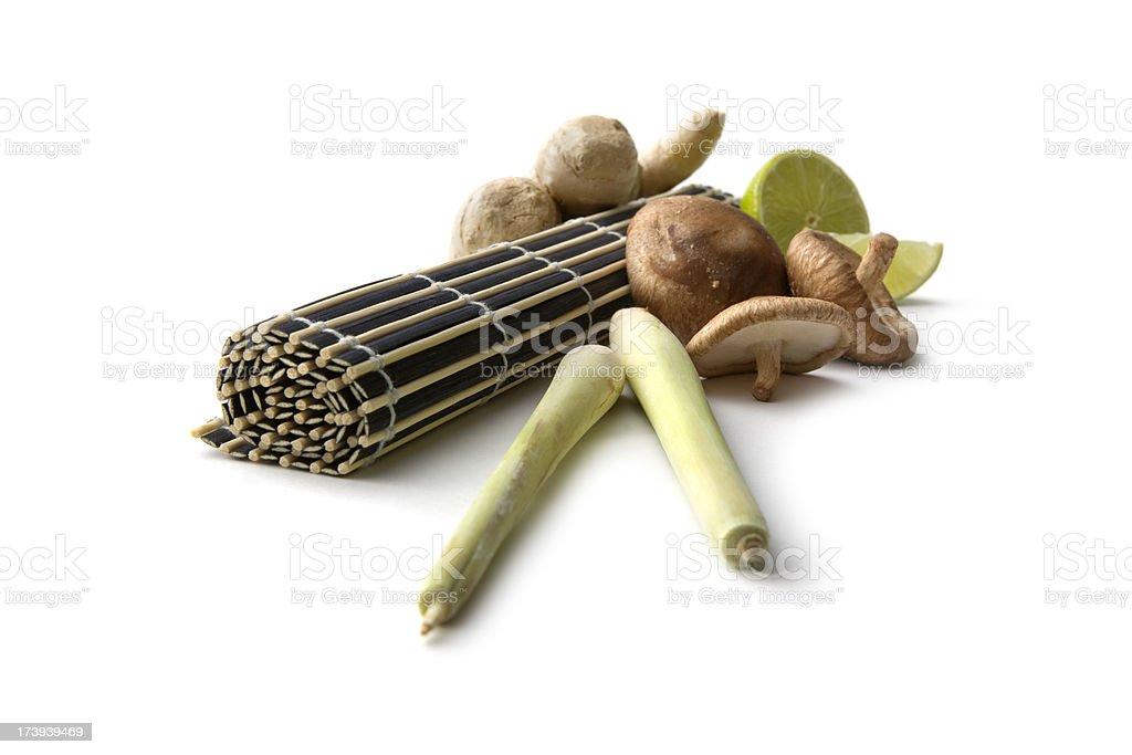 Asian Ingredients: Shiitake, Lime, Lemongrass, Ginger royalty-free stock photo