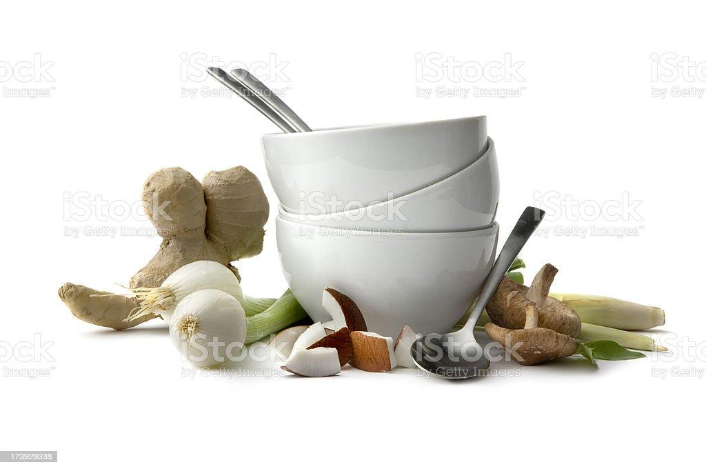 Asian Ingredients: Spring Onion, Shiitake, Coconut, Ginger, Lemon Grass royalty-free stock photo