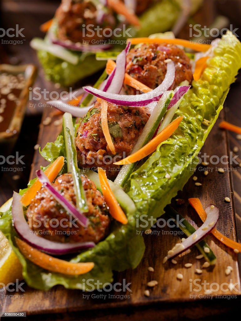Asian inspired Meatball Lettuce Wrap stock photo