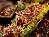 Asian inspired Meatball Lettuce Wrap