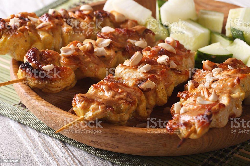 Asian Kebab: Chicken satay with roasted peanuts, horizontal stock photo