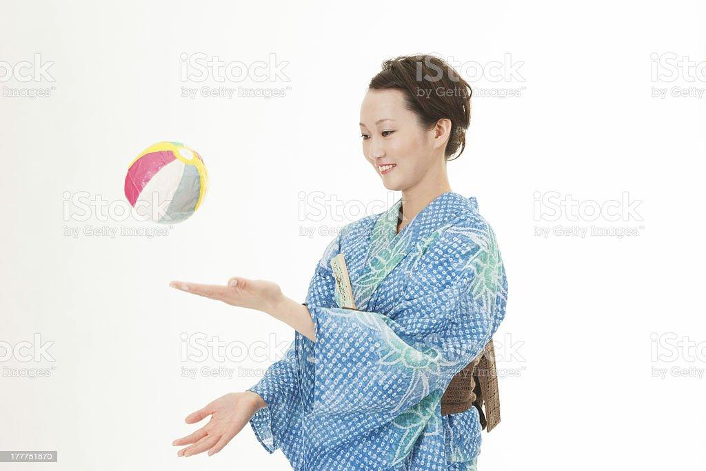 Asian kimono woman with paper balloon stock photo