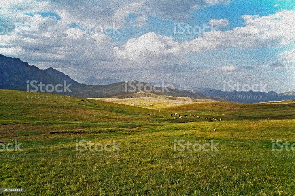 asian landscape -  steppe, cattle and pamir mountains, oil paint stock photo