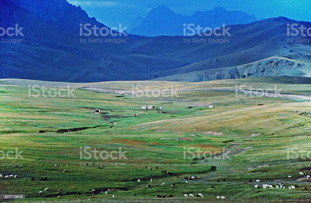 asian landscape -  steppe, cattle and pamir mountains oil paint stock photo