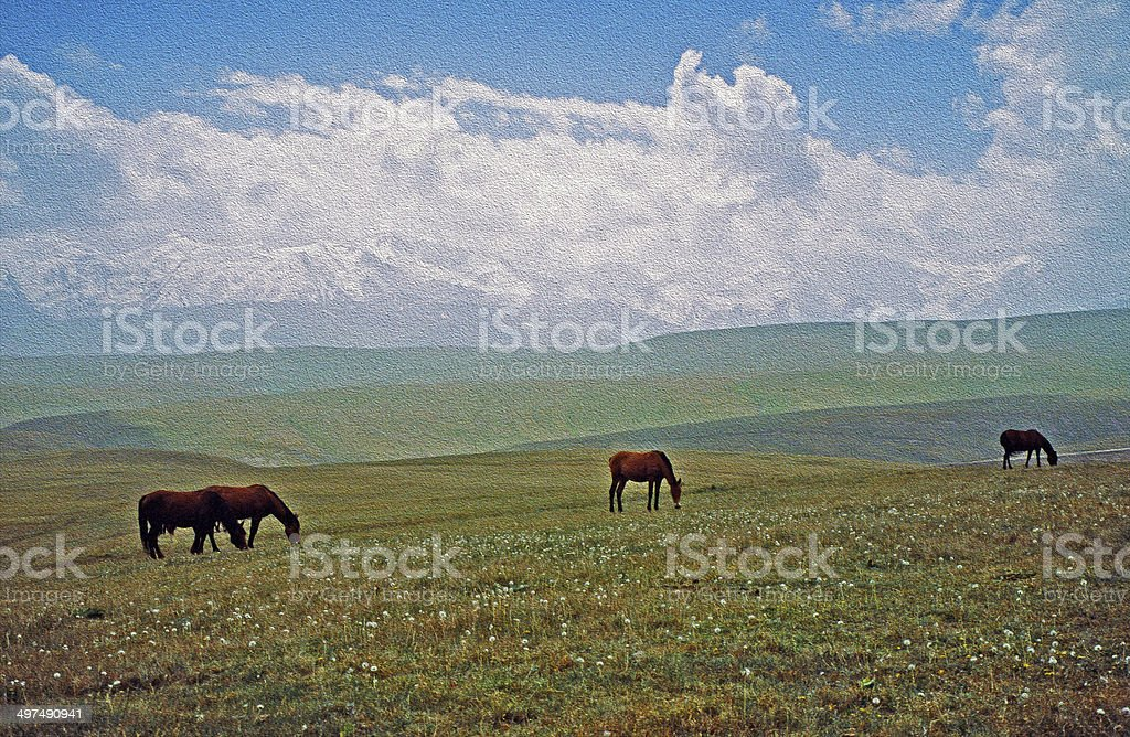 asian landscape -  steppe, sheep and pamir mountains, oil paint stock photo