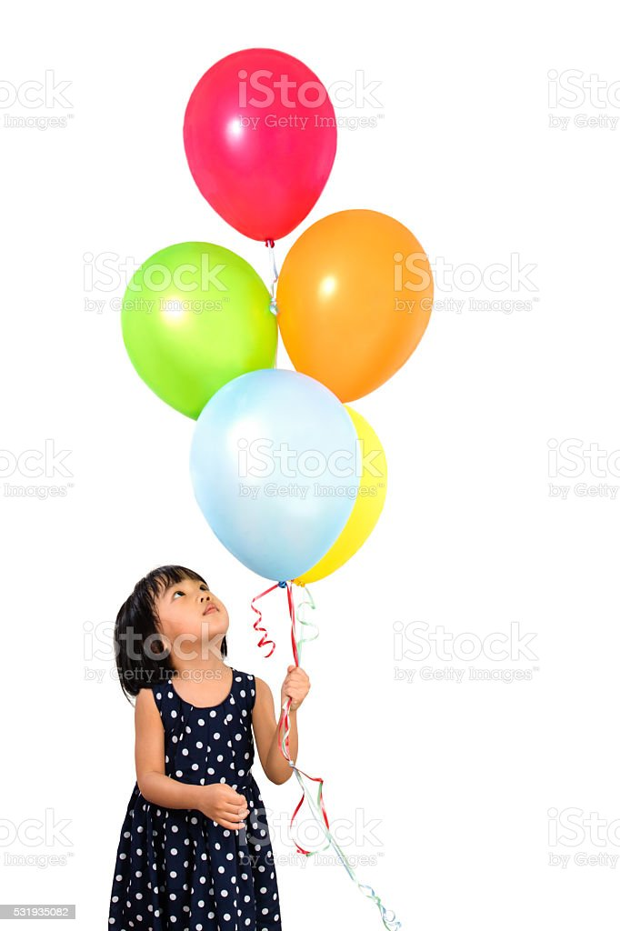 Asian Little Chinese Girl Holding Colorful Balloons stock photo