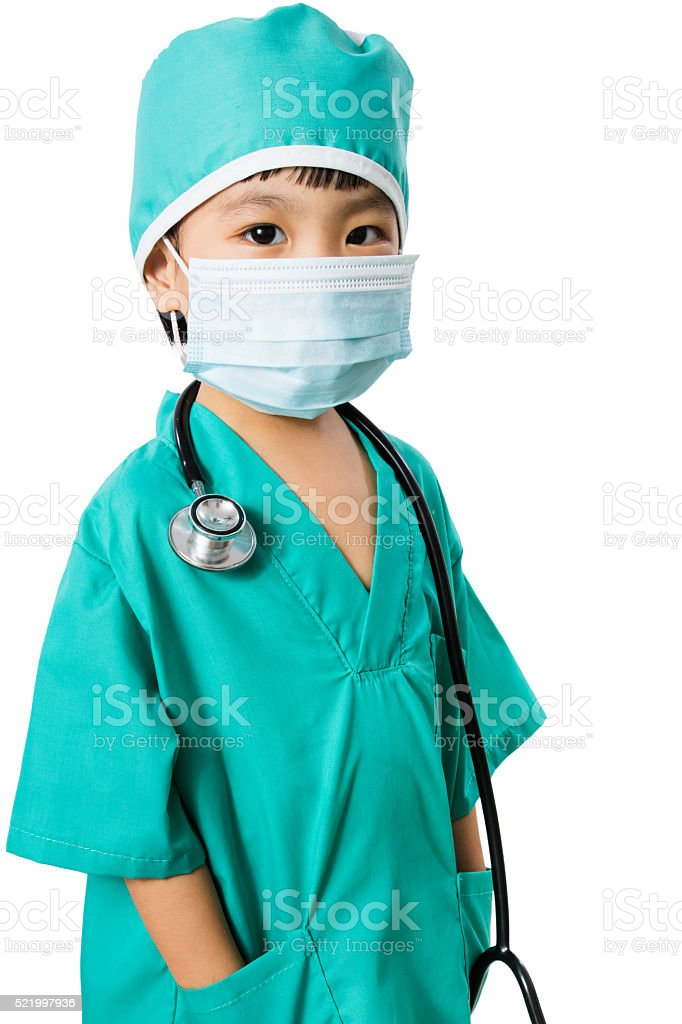 Asian Little Chinese Girl Playing a Doctor stock photo