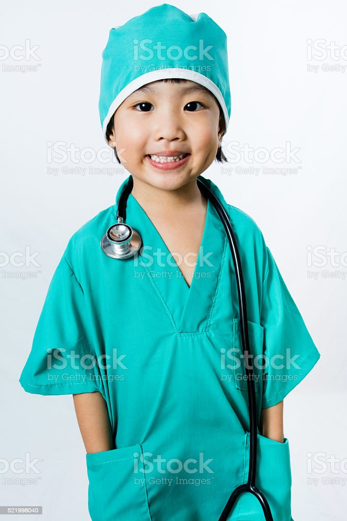 Asian Little Chinese Girl Playing a Doctor with Stethoscope stock photo