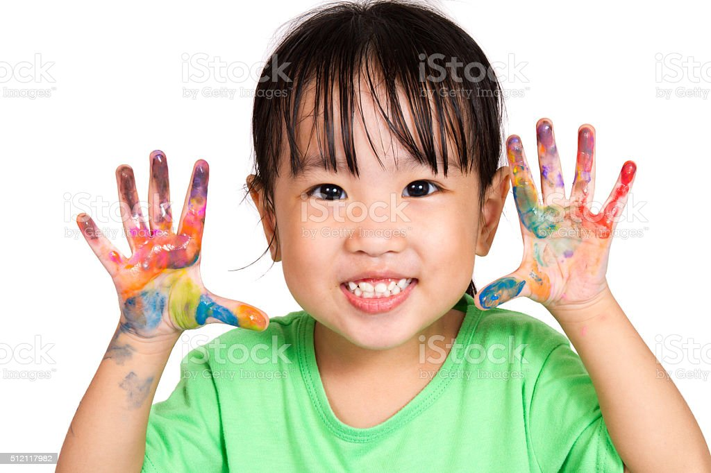 Asian Little Chinese Girl Playing and Painting stock photo