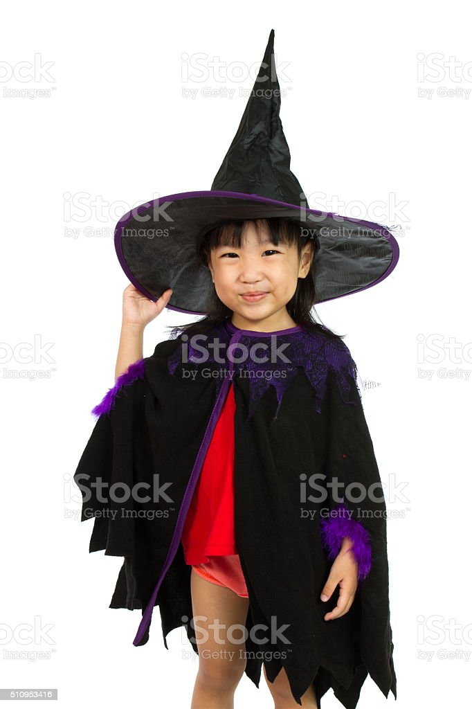Asian Little Chinese Girl Wearing Halloween Costume stock photo