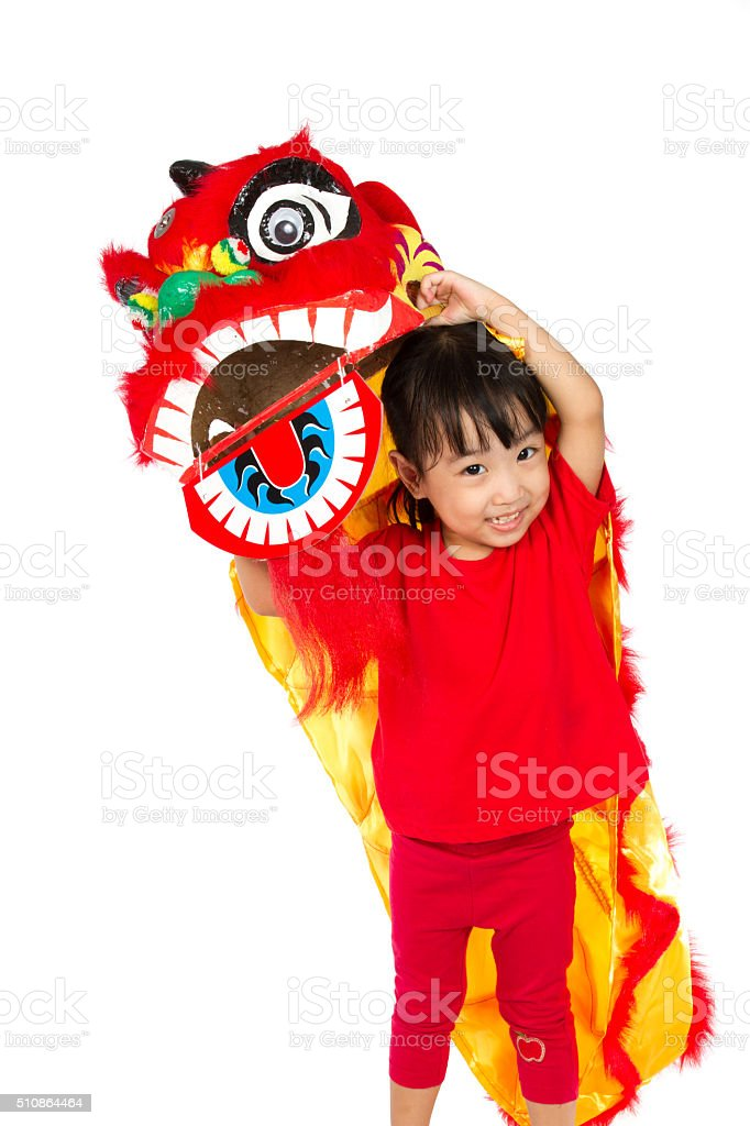 Asian Little Girl in Chinese Lion Custome Dance stock photo