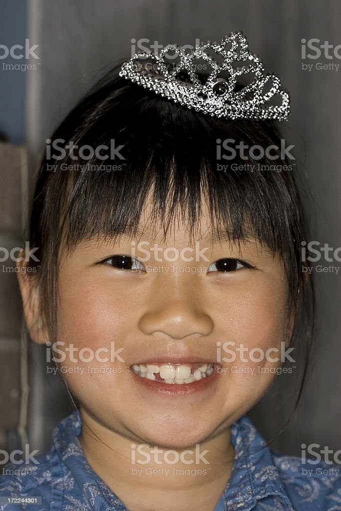 Asian Little Girl Portrait with Princess Crown royalty-free stock photo