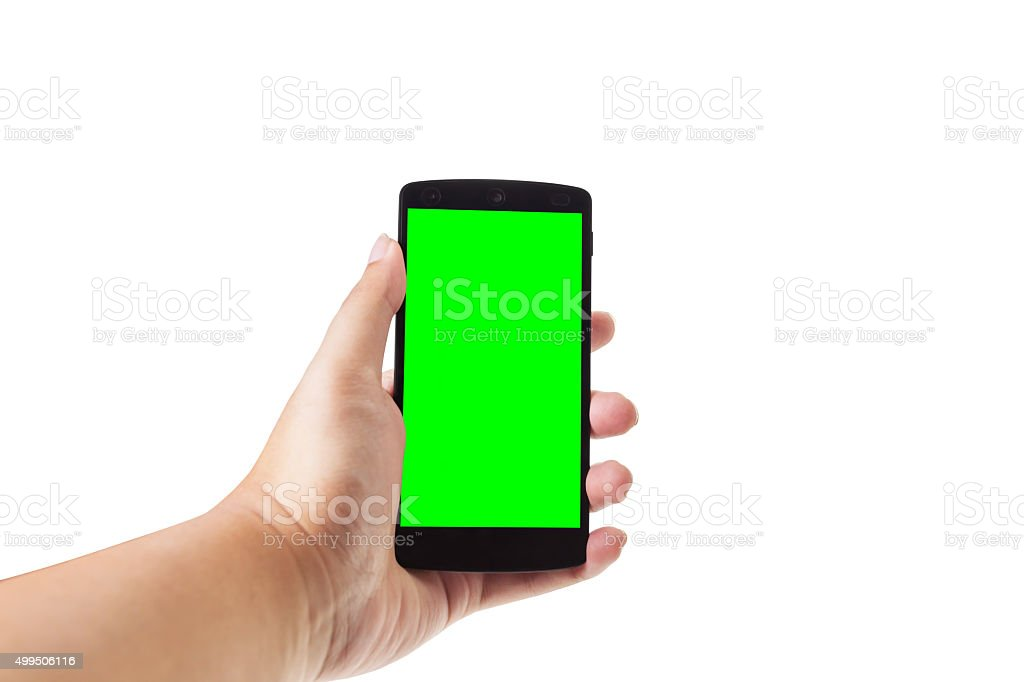 Asian male hand holding mobile smartphone stock photo