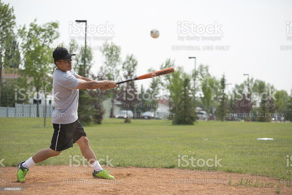 Asian male softball player royalty-free stock photo
