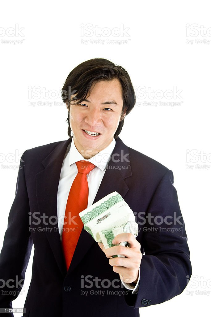 Asian Man Angry Over Market Crushing Stock Certificate White Background royalty-free stock photo