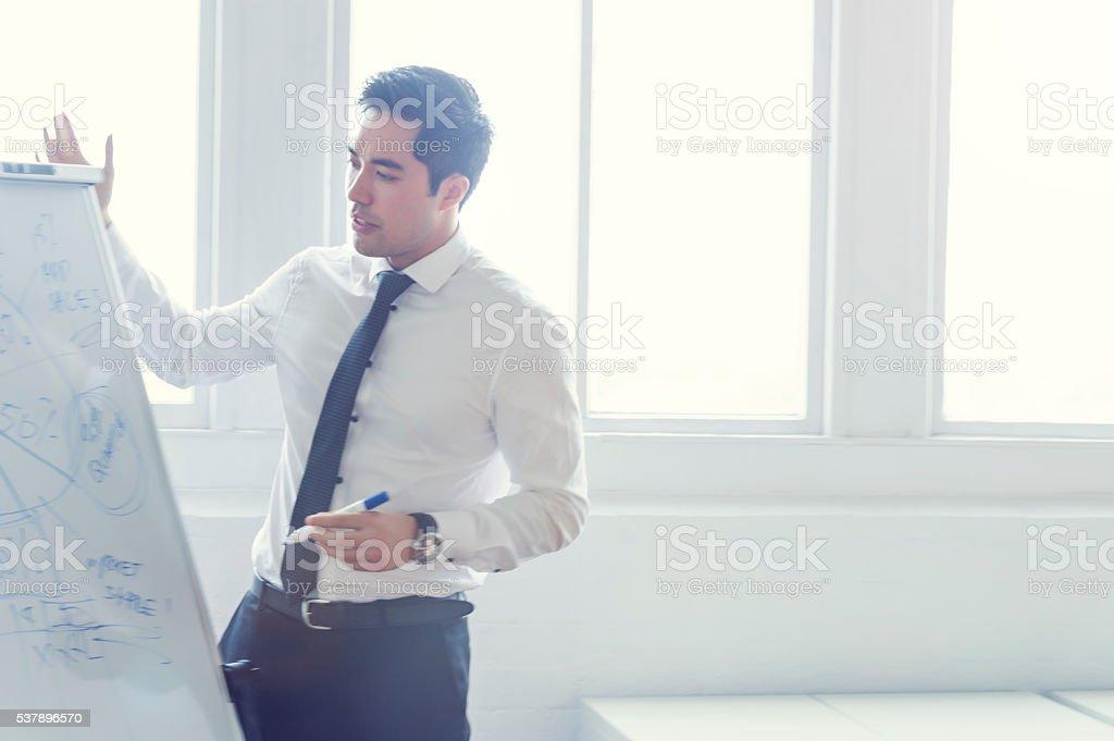 Asian man giving a presentation. stock photo
