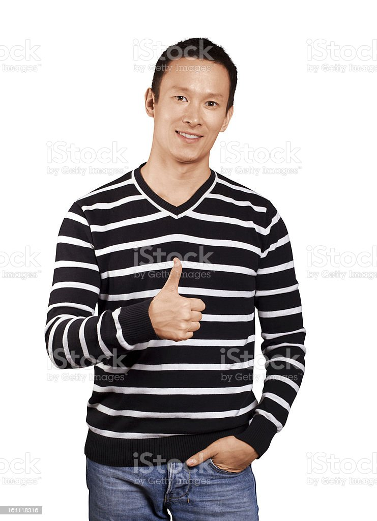 Asian Man In Striped Pullover royalty-free stock photo