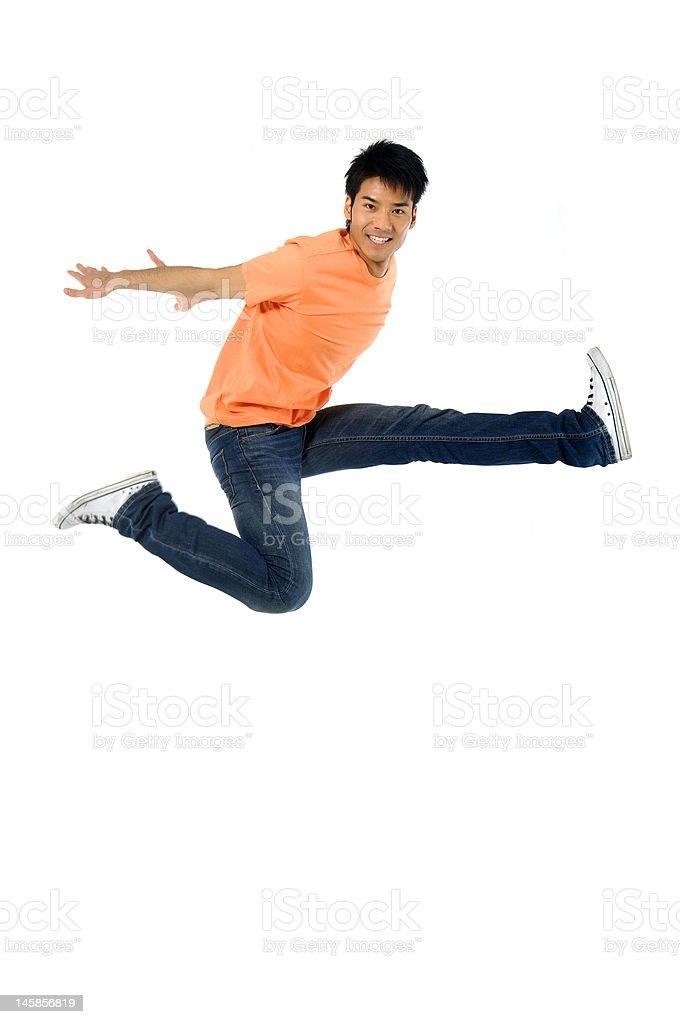 Asian man jumping royalty-free stock photo