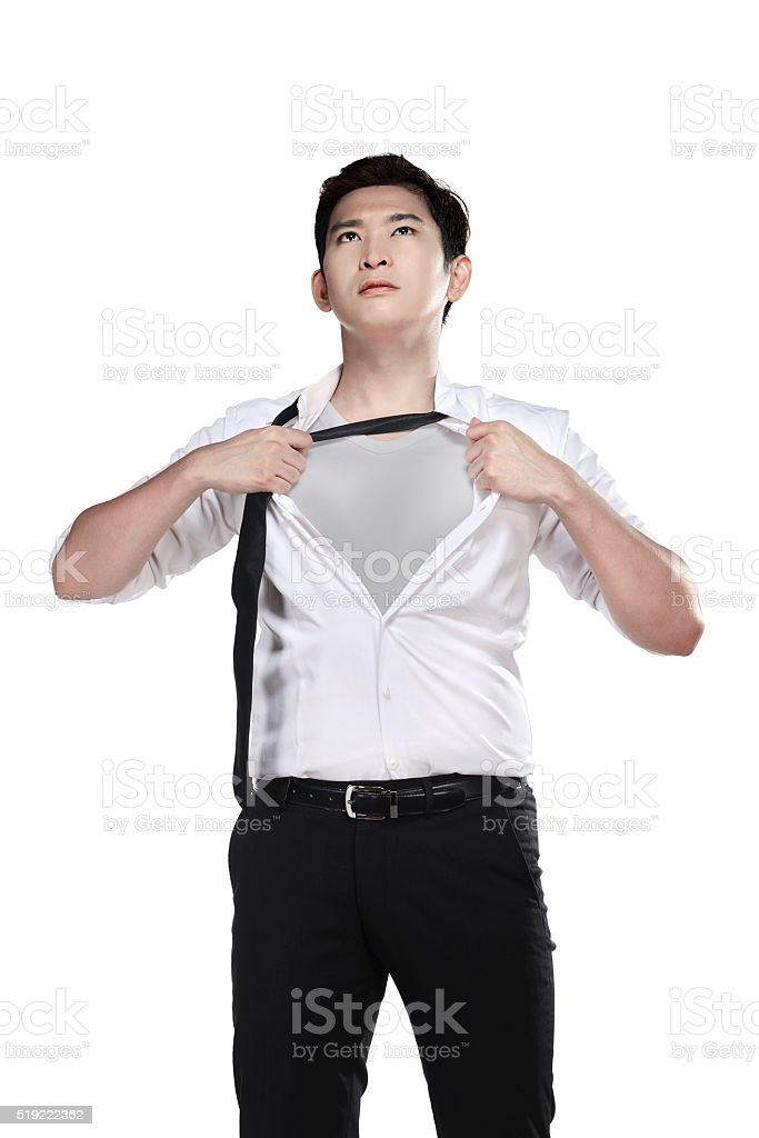 Asian man open his shirt isolated over white background stock photo