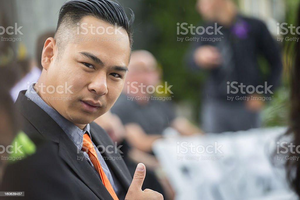 Asian man siiting at wedding ceremoney royalty-free stock photo