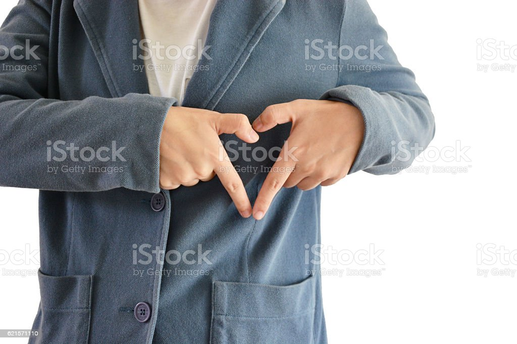 Asian man wear blue suit whit white background, hearts hands royalty-free stock photo