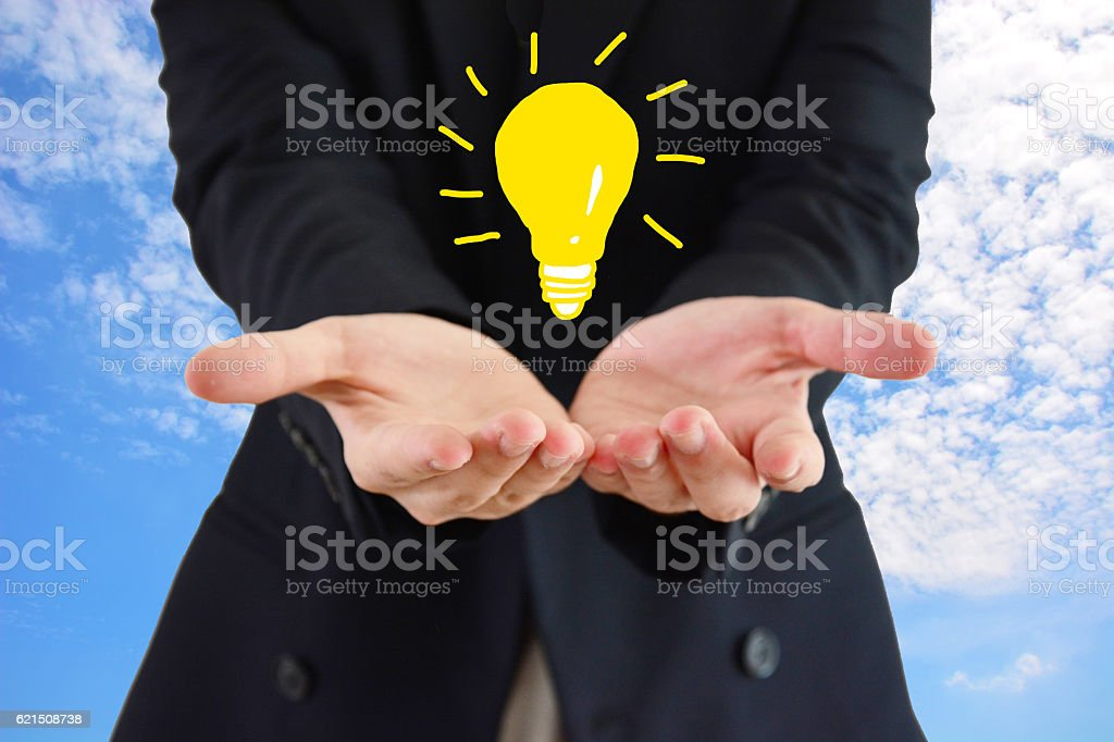 Asian man wear suit ,new idea on hands royalty-free stock photo