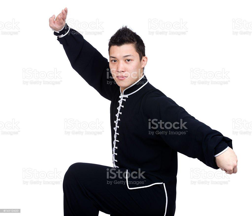 Asian man wearing a kung fu uniform stock photo