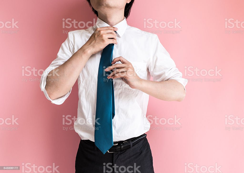 Asian man wearing a tie stock photo