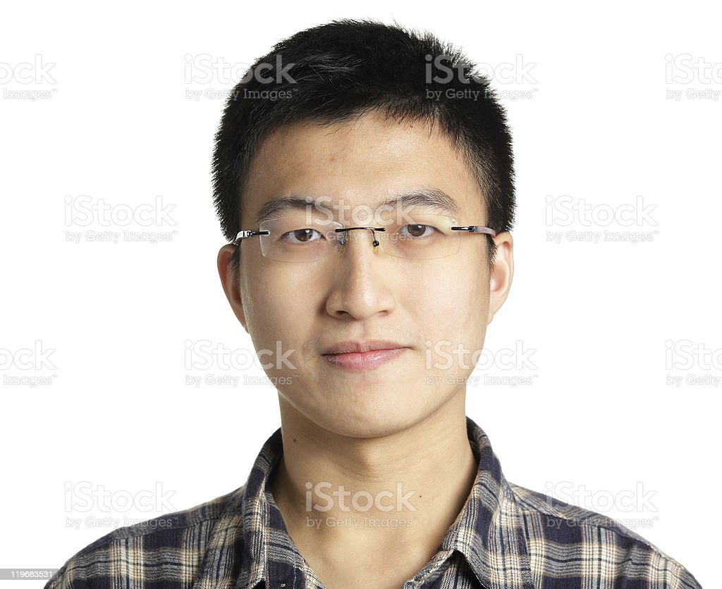 Asian man wearing glasses on a white background stock photo