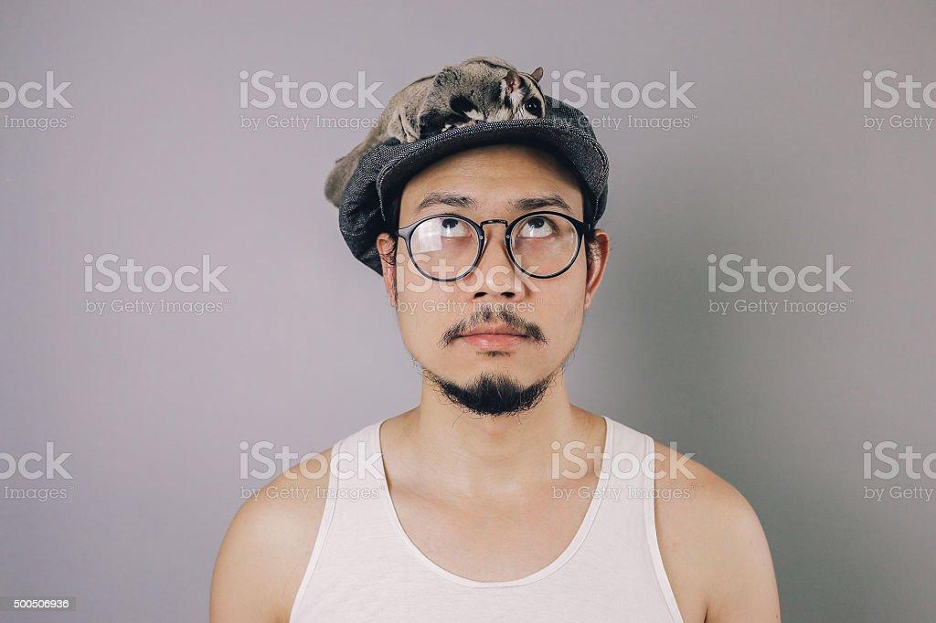 Asian man with flat cap. stock photo