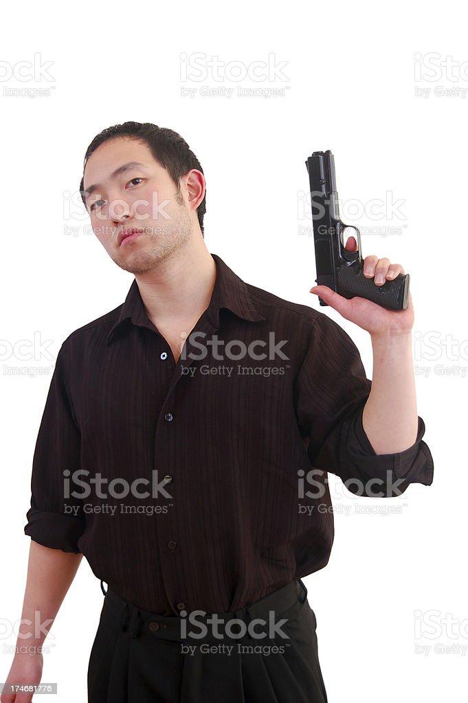 Asian Man With Gun stock photo