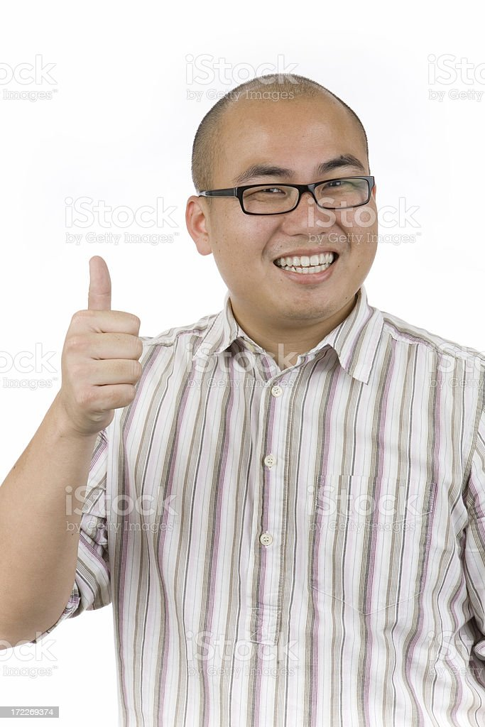 Asian man with thumbs up royalty-free stock photo