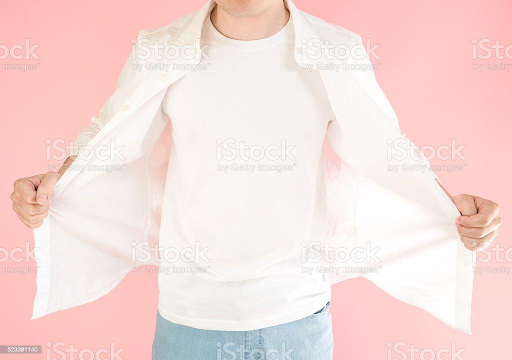 Asian man with white shirt stock photo