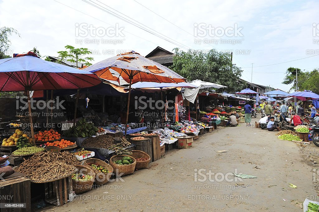 Asian market street stock photo