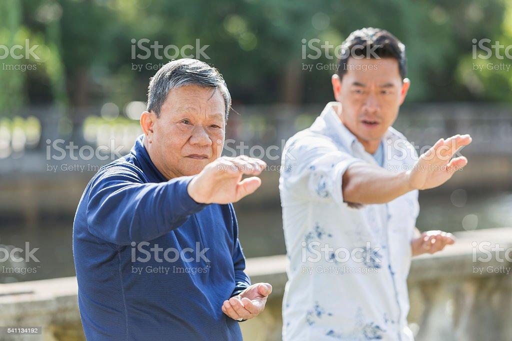 Asian men in park doing tai chi stock photo