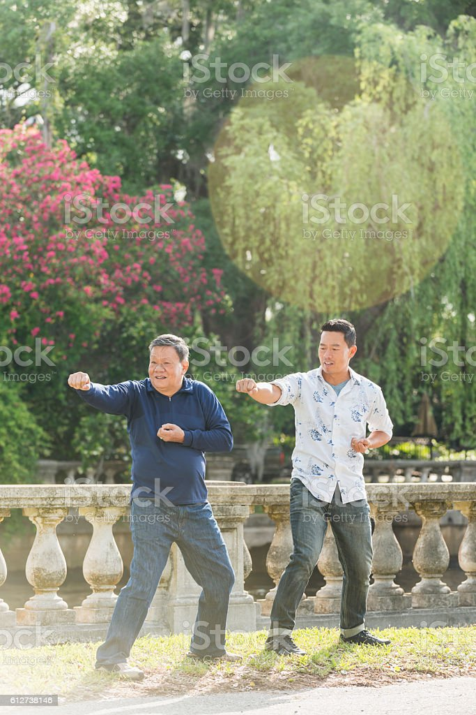 Asian men in park doing tai chi stock photo