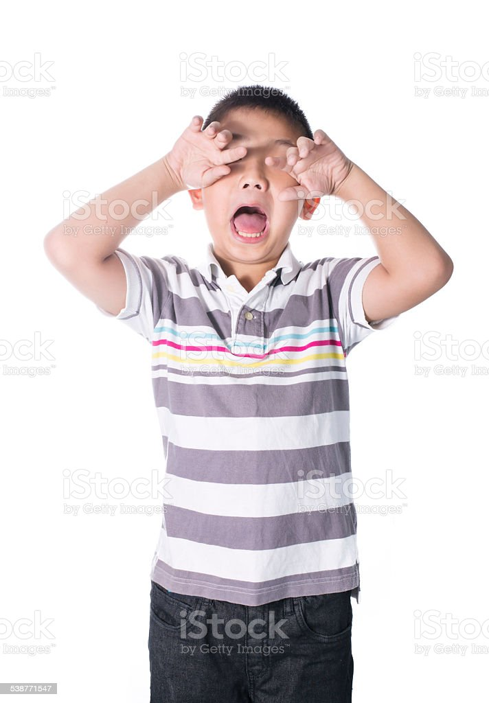 Asian mentally retarded boy problem sad and crying isolated stock photo