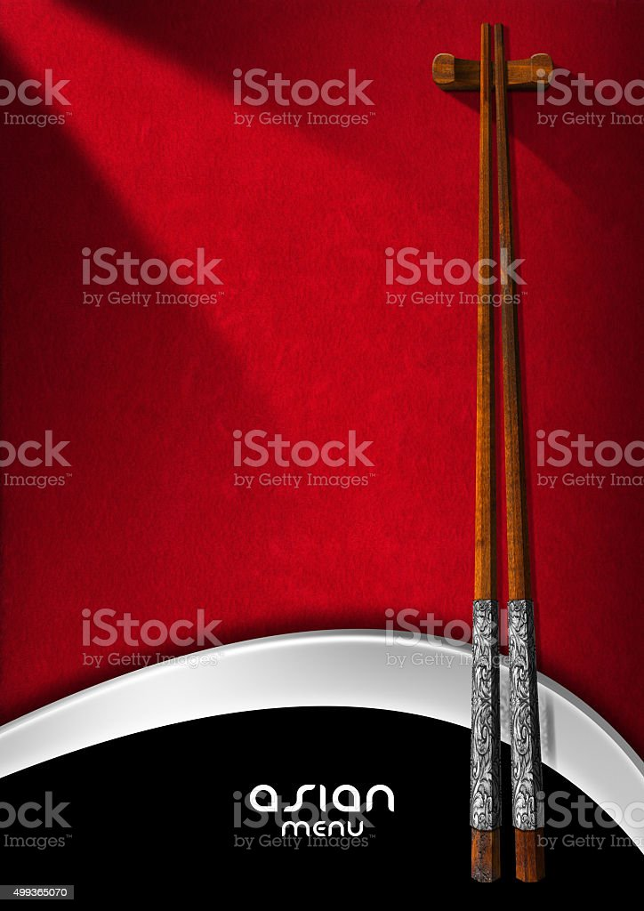Asian Menu with Wooden Chopsticks stock photo