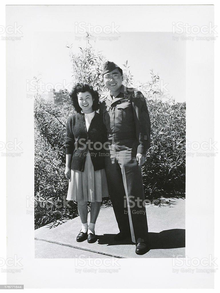 Asian Military Couple stock photo