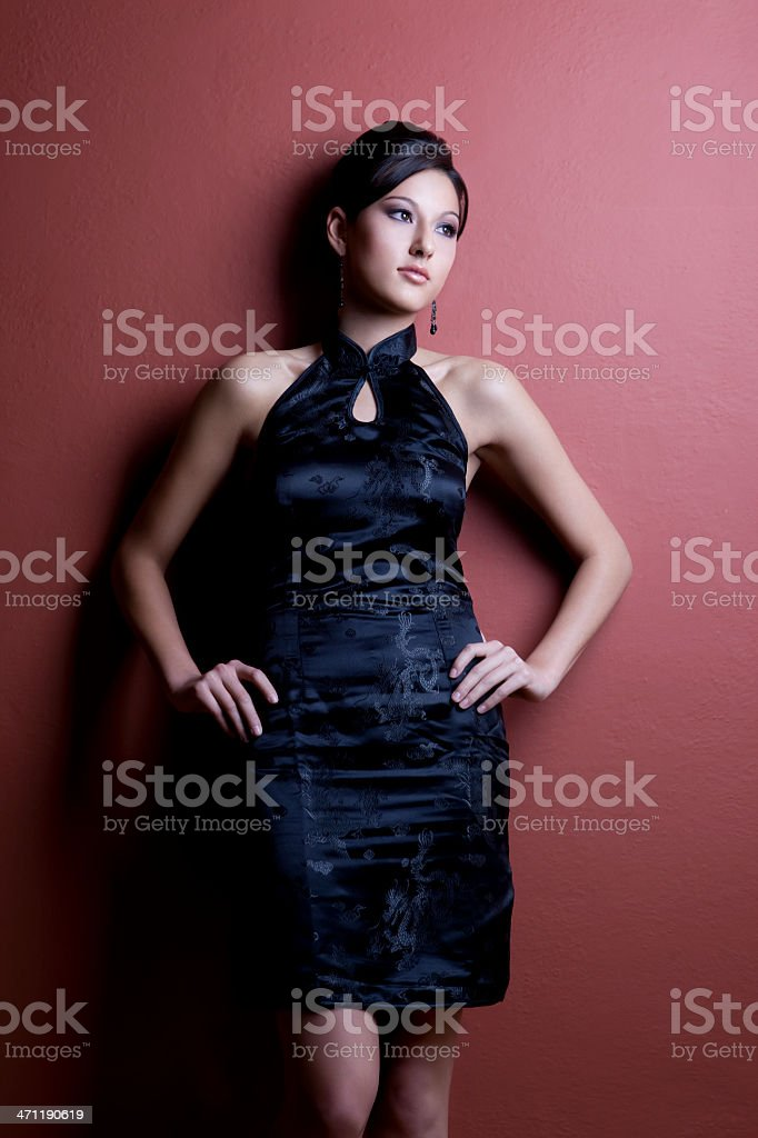 Asian Mixed Young Woman Fashion Model in Black Short Dress royalty-free stock photo
