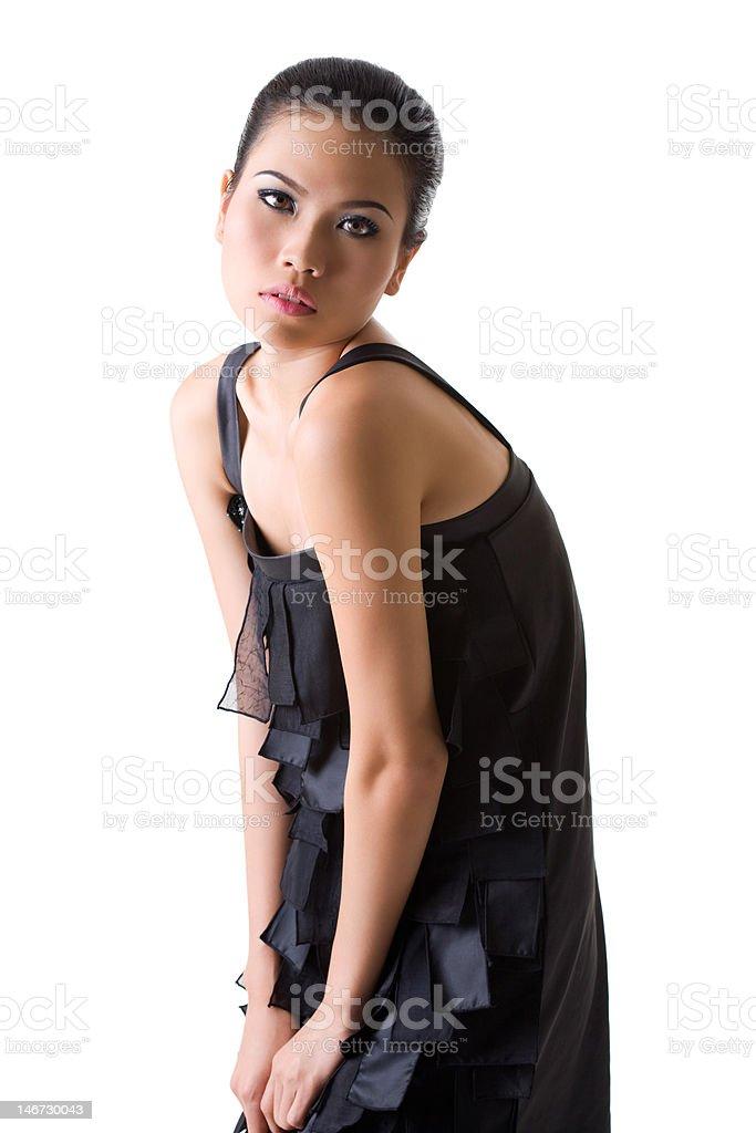 asian model posing  slouching stock photo