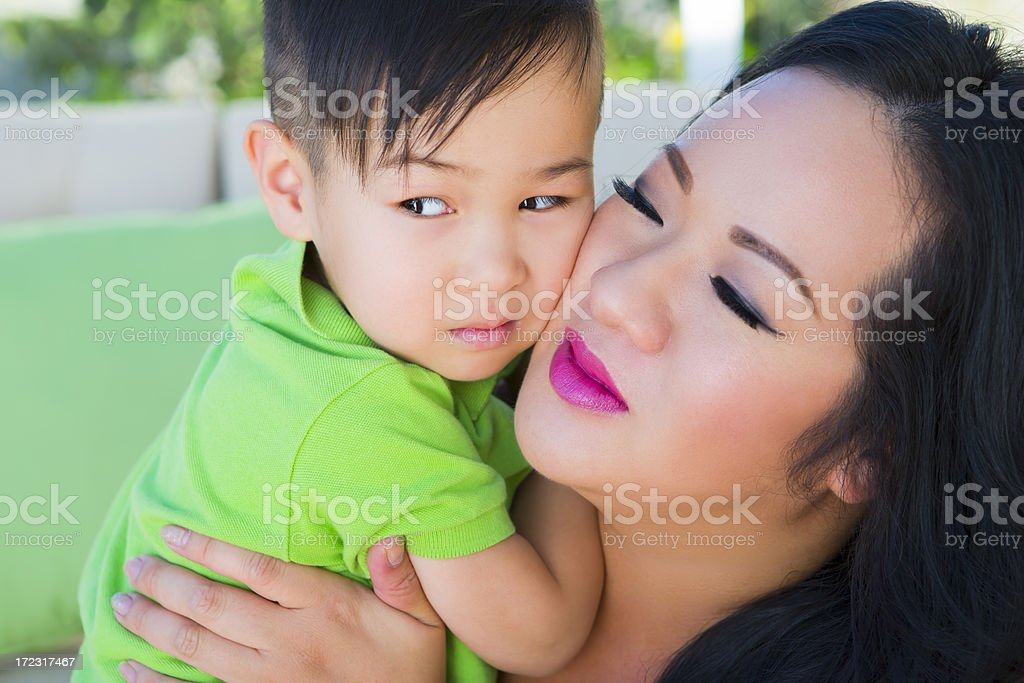 Asian mother and son outdoor portrait royalty-free stock photo