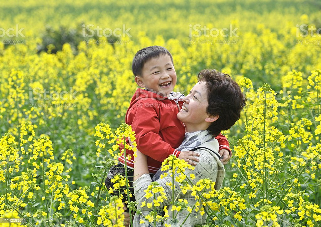 asian mother son Laughing in rape flowers royalty-free stock photo