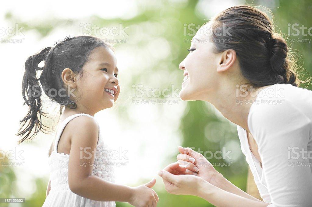 Asian Mum & daughter stock photo